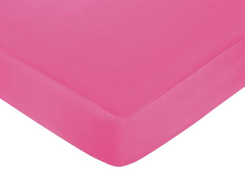 Circles Fitted Crib Sheet for Baby and Toddler Bedding Sets by Sweet Jojo Designs - Solid Hot Pink - Click to enlarge