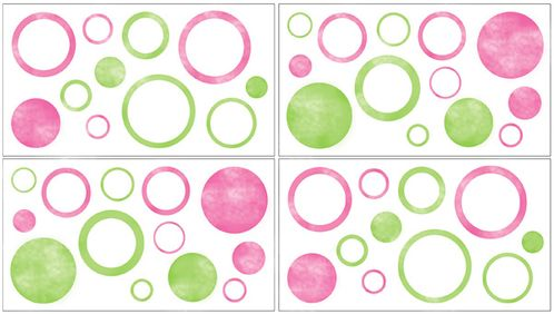 Circles Peel and Stick Wall Decal Stickers Art Nursery Decor by Sweet Jojo Designs - Set of 4 Sheets - Click to enlarge