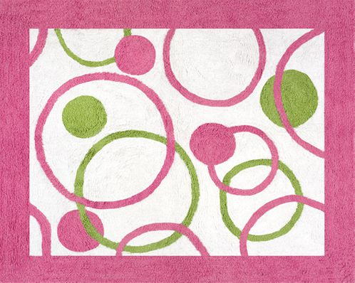 Circles Pink and Green Accent Floor Rug - Click to enlarge
