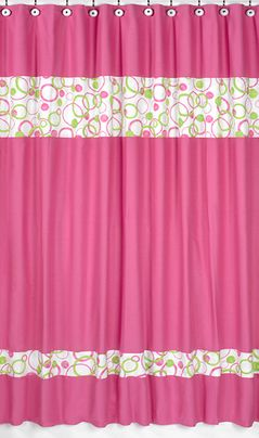 Circles Pink and Green Kids Bathroom Fabric Bath Shower Curtain