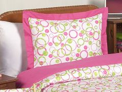 Circles Pink and Green Modern Pillow Sham
