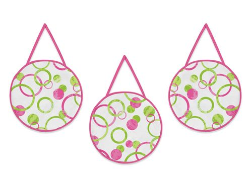 Circles Pink and Green Modern Wall Hanging Accessories by Sweet Jojo Designs - Click to enlarge