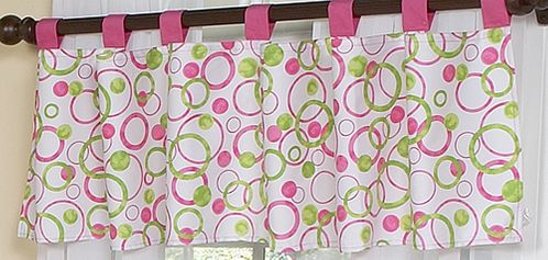 Circles Pink and Green Modern Window Valance by Sweet Jojo Designs - Click to enlarge