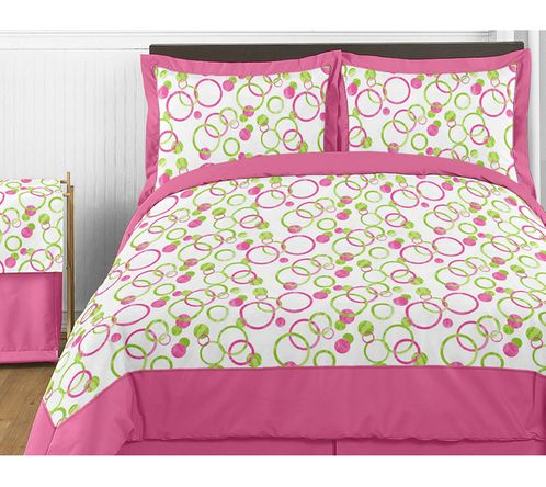 Circles Pink and Green Teen Bedding - 3pc Full / Queen Set - Click to enlarge
