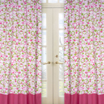 Circles Pink and Green Window Treatment Panels - Set of 2