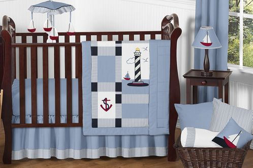 Come Sail Away Nautical Baby Bedding - 11pc Crib Set - Click to enlarge