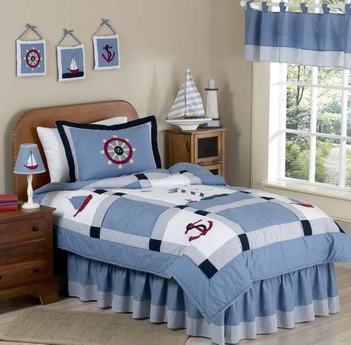 Come Sail Away Nautical Childrens Bedding - 4 pc Twin Set - Click to enlarge