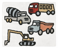 Construction Truck Accent Floor Rug or Bath Mat by Sweet Jojo Designs - Grey Yellow Orange Red and Blue Transportation Zone Vehicles