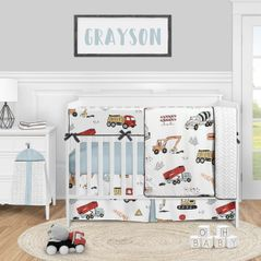 Construction Truck Baby Boy Nursery Crib Bedding Set by Sweet Jojo Designs - 5 pieces - Grey Yellow Orange Red and Blue Transportation Chevron Arrow