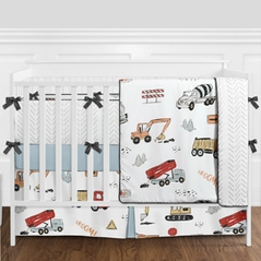 Construction Truck Baby Boy Nursery Crib Bedding Set with Bumper by Sweet Jojo Designs - 9 pieces - Grey Yellow Orange Red and Blue Transportation Chevron Arrow