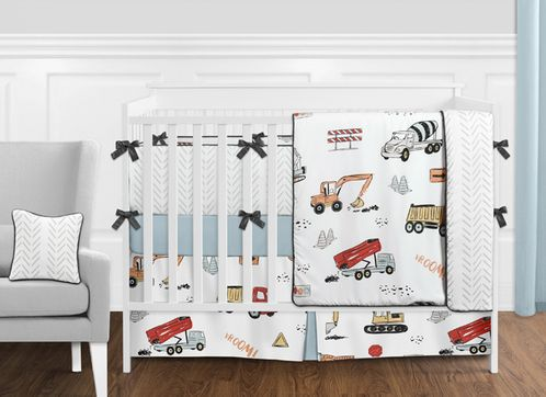Construction Truck Baby Boy Nursery Crib Bedding Set with Bumper by Sweet Jojo Designs - 9 pieces - Grey Yellow Orange Red and Blue Transportation Chevron Arrow - Click to enlarge