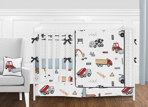 Construction Truck Baby Boy Nursery Crib Bedding Set with Bumper by Sweet Jojo Designs - 9 pieces - Red, Yellow, Blue and Grey Transportation Tractor - Click to enlarge