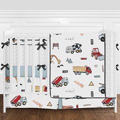 Construction Truck Baby Boy Nursery Crib Bedding Set with Bumper by Sweet Jojo Designs - 9 pieces - Red, Yellow, Blue and Grey Transportation Tractor
