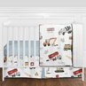 Construction Truck Baby Boy Nursery Crib Bedding Set without Bumper by Sweet Jojo Designs - 11 pieces - Grey Yellow Orange Red and Blue Transportation Chevron Arrow
