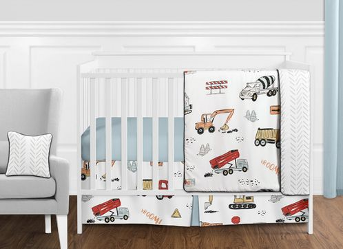 Construction Truck Baby Boy Nursery Crib Bedding Set without Bumper by Sweet Jojo Designs - 11 pieces - Grey Yellow Orange Red and Blue Transportation Chevron Arrow - Click to enlarge
