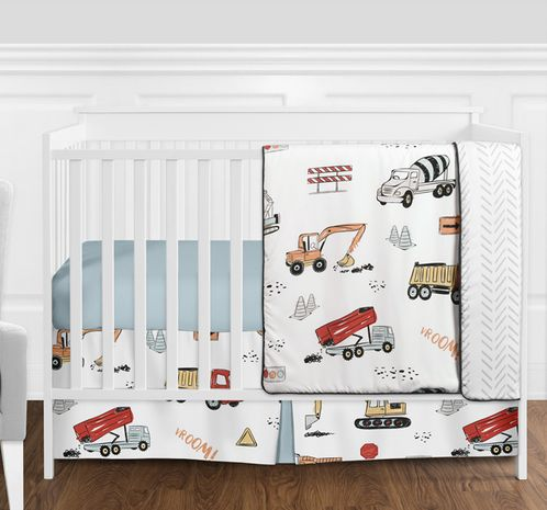 Construction Truck Baby Boy Nursery Crib Bedding Set without Bumper by Sweet Jojo Designs - 4 pieces - Grey Yellow Orange Red and Blue Transportation Chevron Arrow - Click to enlarge