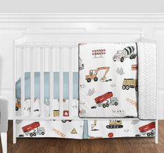 Construction Truck Baby Boy Nursery Crib Bedding Set without Bumper by Sweet Jojo Designs - 4 pieces - Grey Yellow Orange Red and Blue Transportation Chevron Arrow