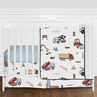 Construction Truck Baby Boy Nursery Crib Bedding Set without Bumper by Sweet Jojo Designs - 4 pieces - Red, Yellow, Blue and Grey Transportation Tractor