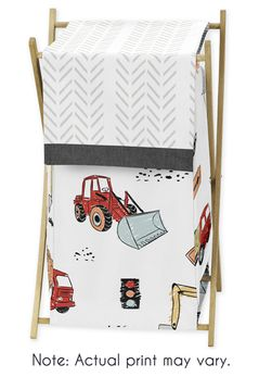 Construction Truck Baby Kid Clothes Laundry Hamper by Sweet Jojo Designs - Grey Yellow Orange Red and Blue Transportation Chevron Arrow