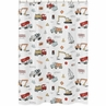 Construction Truck Bathroom Fabric Bath Shower Curtain by Sweet Jojo Designs - Grey Yellow Orange Red and Blue Transportation