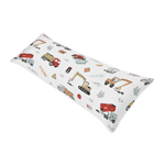 Construction Truck Body Pillow Case Cover by Sweet Jojo Designs (Pillow Not Included) - Grey Yellow Orange Red and Blue Transportation