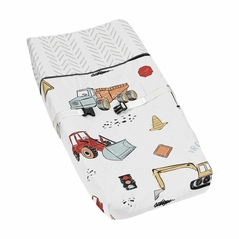 Construction Truck Boy Baby Nursery Changing Pad Cover by Sweet Jojo Designs - Grey Yellow Orange Red and Blue Transportation Chevron Arrow