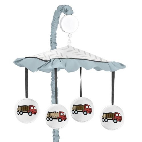 Construction Truck Boy Baby Nursery Musical Crib Mobile by Sweet Jojo Designs - Yellow Red and Blue Transportation Chevron Arrow - Click to enlarge