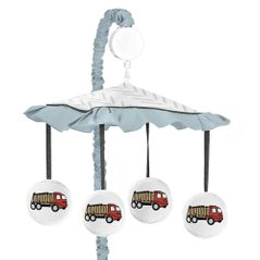 Construction Truck Boy Baby Nursery Musical Crib Mobile by Sweet Jojo Designs - Yellow Red and Blue Transportation Chevron Arrow