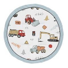 Construction Truck Boy Baby Playmat Tummy Time Infant Play Mat by Sweet Jojo Designs - Grey Yellow Orange Red and Blue Transportation