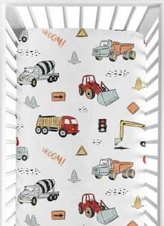 Construction Truck Boy Fitted Crib Sheet Baby or Toddler Bed Nursery by Sweet Jojo Designs - Grey Yellow Orange Red and Blue Transportation