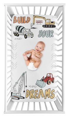 Construction Truck Boy Fitted Crib Sheet Baby or Toddler Bed Nursery Photo Op by Sweet Jojo Designs - Grey Yellow Orange Red and Blue Transportation Chevron Arrow