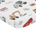 Construction Truck Boy Fitted Mini Crib Sheet Baby Nursery by Sweet Jojo Designs For Portable Crib or Pack and Play - Grey Yellow Orange Red and Blue Transportation
