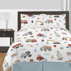 Construction Truck Boy Full / Queen Size Kid Childrens Bedding Comforter Set by Sweet Jojo Designs - 3 pieces - Grey Yellow Orange Red and Blue Transportation Chevron Arrow