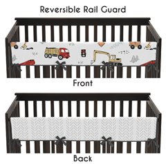 Construction Truck Boy Long Front Crib Rail Guard Baby Teething Cover Protector Wrap by Sweet Jojo Designs - Grey Yellow Orange Red and Blue Transportation Chevron Arrow