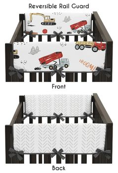 Construction Truck Boy Side Crib Rail Guards Baby Teething Cover Protector Wrap by Sweet Jojo Designs - Set of 2 - Grey Yellow Orange Red and Blue Transportation Chevron Arrow