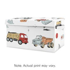 Construction Truck Boy Small Fabric Toy Bin Storage Box Chest For Baby Nursery or Kids Room by Sweet Jojo Designs - Grey Yellow Orange Red and Blue Transportation