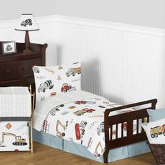 Construction Truck Boy Toddler Kid Childrens Comforter Bedding Set by Sweet Jojo Designs - 5 pieces Comforter, Sham and Sheets - Grey Yellow Orange Red and Blue Transportation Chevron Arrow