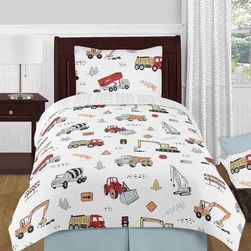 Construction Truck Boy Twin Size Kid Childrens Bedding Comforter Set by Sweet Jojo Designs - 4 pieces - Grey Yellow Orange Red and Blue Transportation Chevron Arrow - Click to enlarge