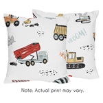 Construction Truck Decorative Accent Throw Pillows by Sweet Jojo Designs - Set of 2 - Grey Yellow Orange Red and Blue Transportation