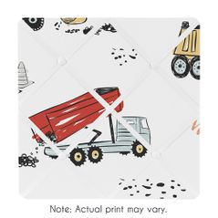 Construction Truck Fabric Memory Memo Photo Bulletin Board by Sweet Jojo Designs - Grey Yellow Orange Red and Blue Transportation