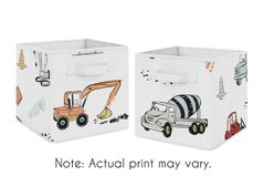 Construction Truck Foldable Fabric Storage Cube Bins Boxes Organizer Toys Kids Baby Childrens by Sweet Jojo Designs - Set of 2 - Grey Yellow Orange Red and Blue Transportation