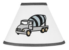 Construction Truck Lamp Shade by Sweet Jojo Designs - Grey Yellow and Blue Transportation