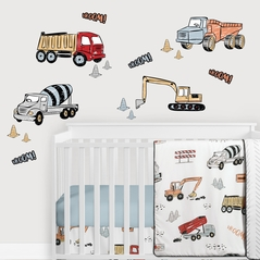 Construction Truck Large Peel and Stick Wall Decal Stickers Art Nursery Decor Mural by Sweet Jojo Designs - Set of 4 Sheets - Grey Yellow Orange Red and Blue Transportation Zone Vehicles
