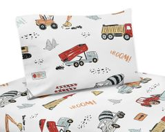 Construction Truck Queen Sheet Set by Sweet Jojo Designs - 4 piece set - Grey Yellow Orange Red and Blue Transportation