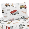 Construction Truck Twin Sheet Set by Sweet Jojo Designs - 3 piece set - Grey Yellow Orange Red and Blue Transportation