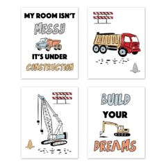 Construction Truck Wall Art Prints Room Decor for Baby, Nursery, and Kids by Sweet Jojo Designs - Set of 4 - Grey Yellow Orange Red and Blue Transportation