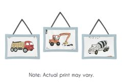 Construction Truck Wall Hanging Decor by Sweet Jojo Designs - Set of 3 - Grey Yellow Orange Red and Blue Transportation