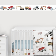 Construction Truck Wallpaper Wall Border Mural by Sweet Jojo Designs - Grey Yellow Orange Red and Blue Transportation Zone Vehicles