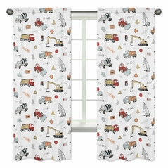 Construction Truck Window Treatment Panels Curtains by Sweet Jojo Designs - Set of 2 - Grey Yellow Orange Red and Blue Transportation