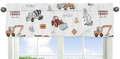 Construction Truck Window Treatment Valance by Sweet Jojo Designs - Grey Yellow Orange Red and Blue Transportation